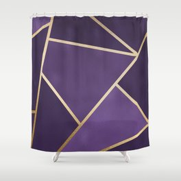 Beautiful Amethyst Gold Geometry Art Shower Curtain