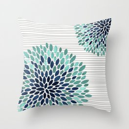 Blooms and Stripes, Aqua and Navy Throw Pillow