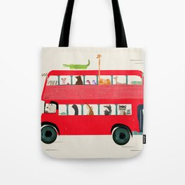 The big red bus Tote Bag