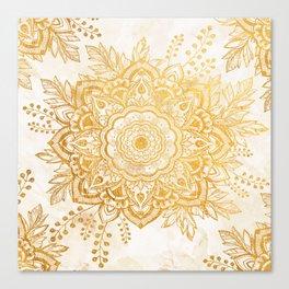 Queen Starring of Mandala-Gold Sunflower I Canvas Print