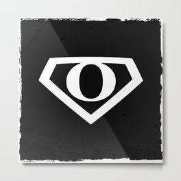 White Letter O Symbol Metal Print