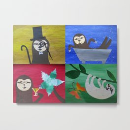 collage of sloths - sloth pictures Metal Print