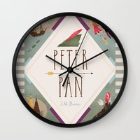 peter pan Wall Clocks featuring Peter Pan by emilydove