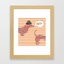 Hello Sausage Dog Framed Art Print