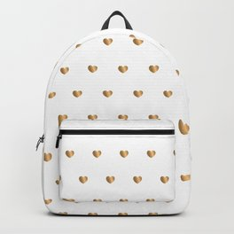 Small gold hearts pattern on white Backpack