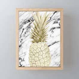 Rose Gold Pineapple Surprise on Simply Marble Framed Mini Art Print