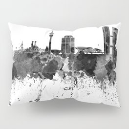 Munich skyline in black watercolor Pillow Sham