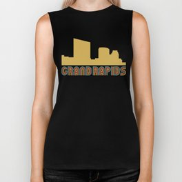 Vintage Style Grand Rapids Michigan Skyline Biker Tank