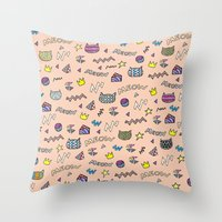 meow Throw Pillows featuring meow by galactikat