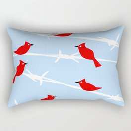 Red Cardinal Birds on Barbed wire Rectangular Pillow