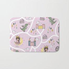 Childish seamless pattern with princess and dragon Bath Mat