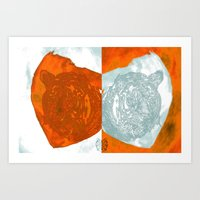 Fire and Ice Tigers Art Print