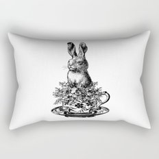 Rabbit in a Teacup | Black and White Rectangular Pillow