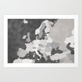 Distressed map of Europe in gray - PRINTS IN SIZES L and XL ONLY Art Print