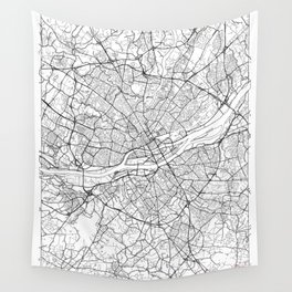 Nantes Map White Wall Tapestry