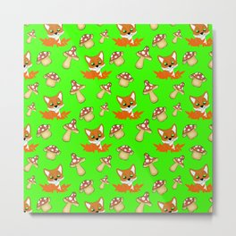 Cute happy red foxes, fallen leaves and wild mushrooms seamless green pattern. Fall season. Hello No Metal Print
