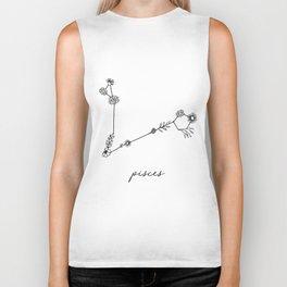 Pisces Floral Zodiac Constellation Biker Tank