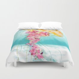 Jellyfish with Flowers Duvet Cover