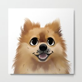 The Smiling Pomeranian Metal Print