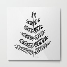 Black Leaflets Metal Print