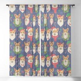 Welsh Corgi Dog Breed Christmas Party -Cute Corgis Celebrate X-Mas Blue Sheer Curtain