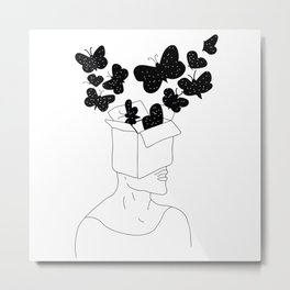 Butterfly in his head Metal Print