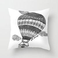 baloon Throw Pillows featuring Hot Air Baloon by Fill Design by mervegokdere