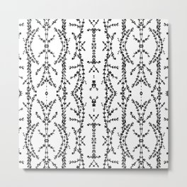 Vines Kaleidoscope (black on white) Metal Print
