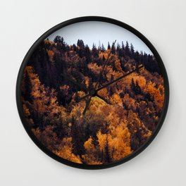 Beautiful Autumn Forest Orange & Brown Leaves Wall Clock