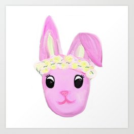 Bunny in a Flower Crown.  Art Print