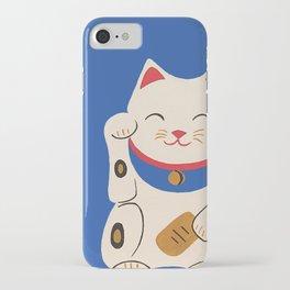 Blue Lucky Cat Maneki Neko iPhone Case