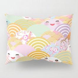 seamless pattern Kawaii with pink cheeks and winking eyes with japanese sakura flower Pillow Sham