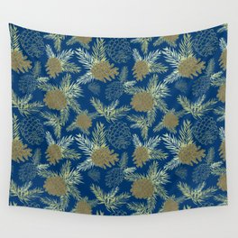 Pinecone Leaves in Dark Blue Wall Tapestry