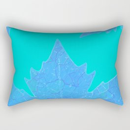 Sycamore Stained Glass Tiffany style design Ice leaf on turquoise Rectangular Pillow