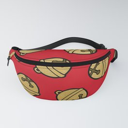 Jingle Bells Christmas Pattern in Gold & Red Fanny Pack