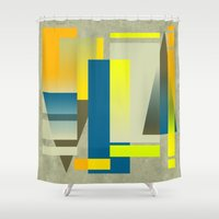 metropolis Shower Curtains featuring METROPOLIS | yellow by Cheryl Daniels