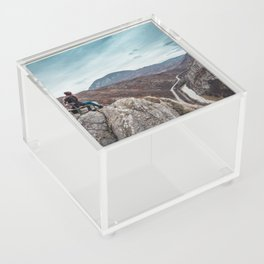 Girl sitting on the bench on the edge of the canyon with amazing view in front of her Acrylic Box