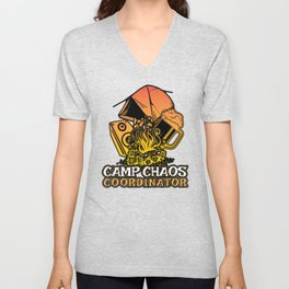 Funny Camp Chaos Coordinator Gift for Camp Chaos Coordinators | Summer Camp Camping Unisex V-Neck