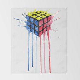 Watercolor Rubik Throw Blanket