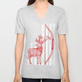Crossbow Hunting Tee, Patriotic Hunting graphic, Deer Hunting Unisex V-Neck