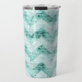 Teal Wood Chevron  Travel Mug