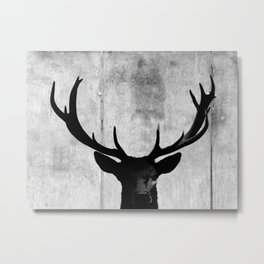 Industrial Black Deer Silhouette A313 Metal Print