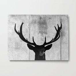 Industrial Black Deer Silhouette A313 Metal Print