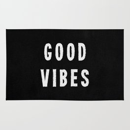 Grungy Distressed Ink Good Vibes | White on Black Rug