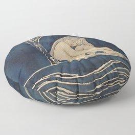 Girl sleeping under magnolia flowers Floor Pillow