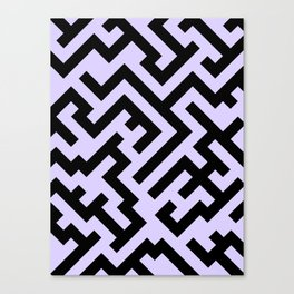 Black and Pale Lavender Violet Diagonal Labyrinth Canvas Print