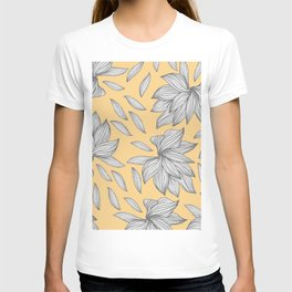 Elegant Yellow Silver Glitter Floral Line Art T-shirt