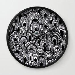 black and white scallops Wall Clock