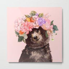 Baby Bear with Flowers Crown Metal Print