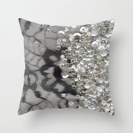 Black Lace and Bling Throw Pillow